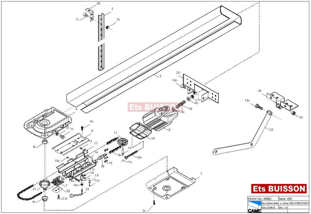 came - pièces détachées came rail pour porte de garage came v0671